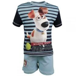 Comme des bêtes Pets - ensemble tee shirt et short - garçon - bleu