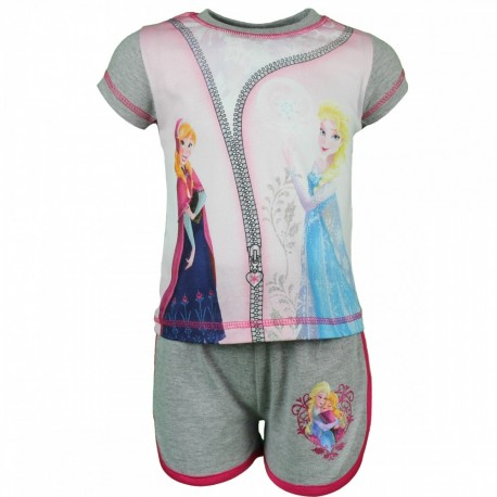Reine des neiges - ensemble tee shirt et short - fille - gris