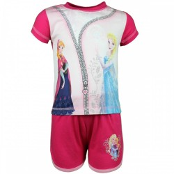 Reine des neiges - ensemble tee shirt et short - fille - rose