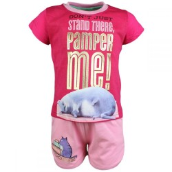Comme des bêtes Pets - ensemble tee shirt et short - fille - rose foncé