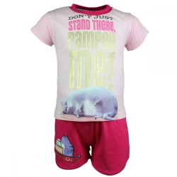 Comme des bêtes Pets - ensemble tee shirt et short - fille - rose