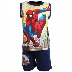 Spiderman - ensemble debardeur et short - garçon - bleu marine