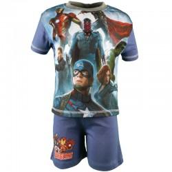Avengers - ensemble tee shirt et short - garçon - bleu