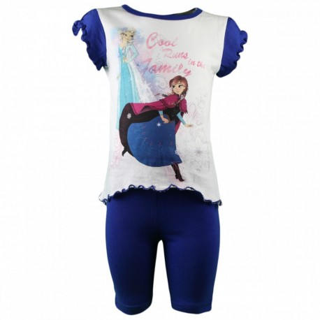 Reine des neiges - ensemble tee shirt et legging - fille - bleu
