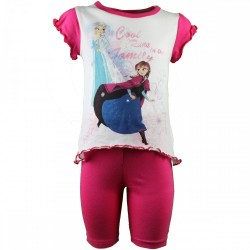 Reine des neiges - ensemble tee shirt et legging - fille - rose