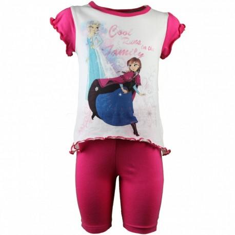 Reine des neiges - ensemble tee shirt et legging - fille - rose