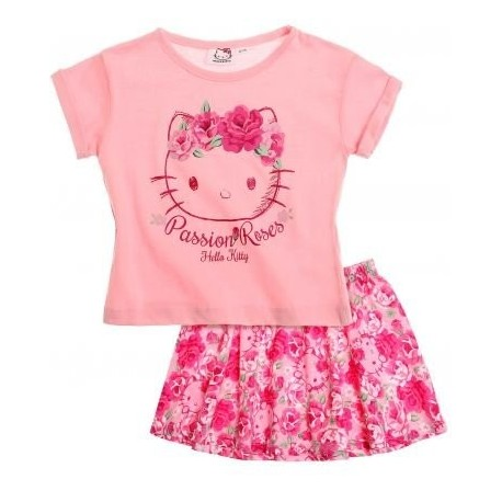 Hello kitty - tee shirt et jupe - fille - rose