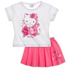 Hello kitty - tee shirt et jupe - fille - blanc