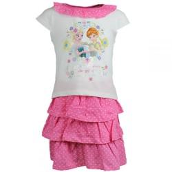 Reine des neiges - tee shirt et jupe - fille - rose