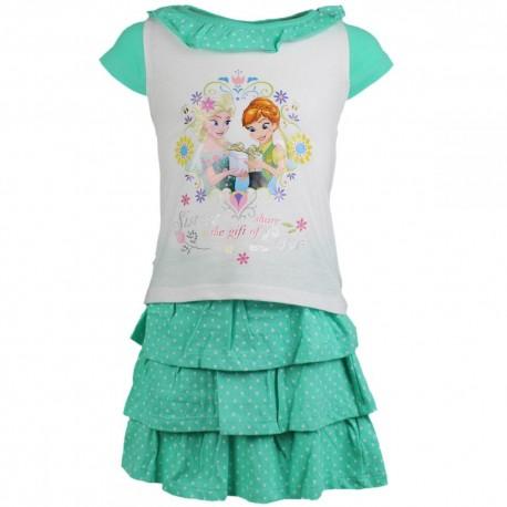 Reine des neiges - tee shirt et jupe - fille - vert