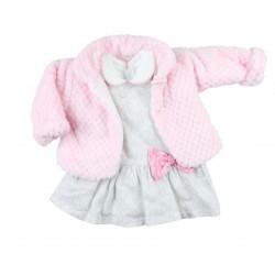 Ensemble trois pièces manteau, robe et pull - bébé fille - rose et gris