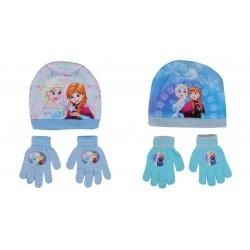 Reine des neiges - bonnet avec une paire de gant - fille - bleu - modèle aléatoire