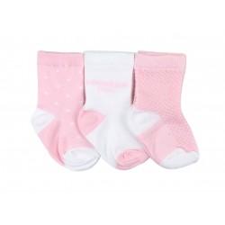 Lot de trois paires de chaussette coton majoritaire - fille - rose et blanc
