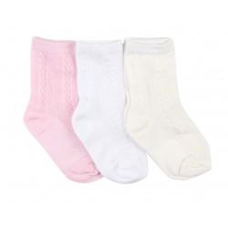Lot de trois paires de chaussette coton majoritaire - fille - rose blanc beige