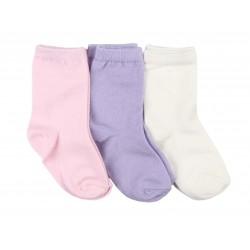 Lot de trois paires de chaussette coton majoritaire - fille - rose violet beige