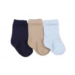 Lot de trois paires de chaussette coton majoritaire - garçon - bleu et marron