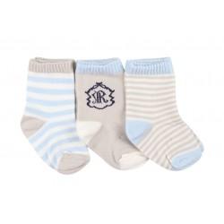 Lot de trois paires de chaussette coton majoritaire - garçon - beige