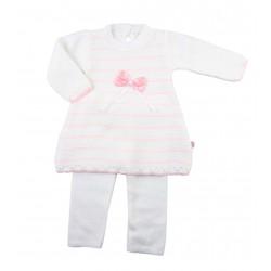 Ensemble deux pièces pull et pantalon tricot - bébé fille - rose