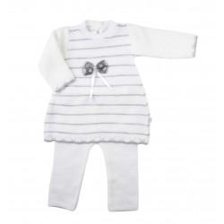 Ensemble deux pièces pull et pantalon tricot - bébé fille - gris