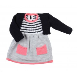 Robe et gilet tricot - bébé fille - bleu