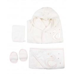 Ensemble bain peignoir, serviette, gant et chaussons - bébé fille - rose