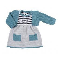 Robe et gilet tricot - bébé fille - turquoise