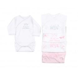 Lot de trois bodies 100% coton ouverture à l'avant bébé fille modèle aléatoire