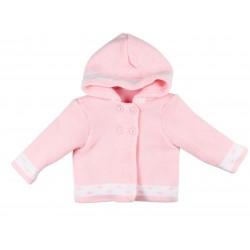 Gilet tricot intérieur polaire à capuche - bébé fille - rose