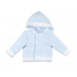 Gilet tricot intérieur polaire à capuche - bébé - bleu