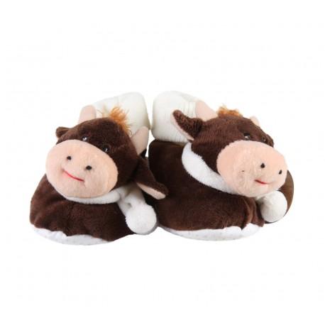 chaussons vache - bébé - marron