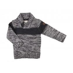 Pull en tricot col V - garçon - gris foncé