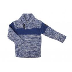 Pull en tricot col V - garçon - bleu