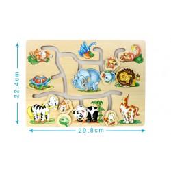 Puzzle en bois avec animaux têtes coulissantes - bébé - beige