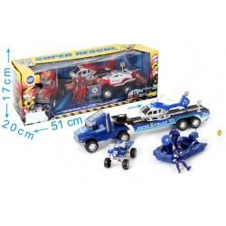 Boite pompiers: hélicoptère, camion, quad, voiture et figurines - enfant - rouge