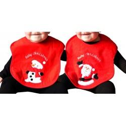 Bavoir noël en éponge bonhomme de neige - bébé - rouge