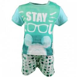 Mickey - Ensemble deux pièces - tee shirt et short - bébé garçon - vert