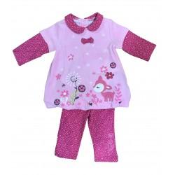Ensemble deux pièces robe et pantalon - bébé fille - rose
