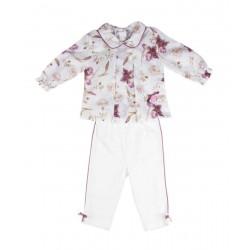 Ensemble deux pièces chemise pantalon - blanc fleuri - bébé fille - coton