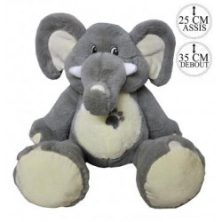 Peluche éléphant brodée - gris - naissance - 35cm