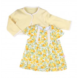 Ensemble 2 pièces robe et gilet coton - jaune - bébé fille