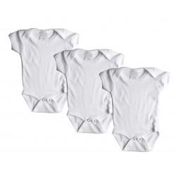 Lot de 3 bodies manche courte 100% coton - blanc - bébé mixte