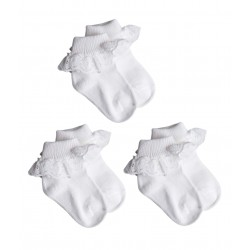 Lot de trois paires de chaussettes à volant - bébé fille - blanc