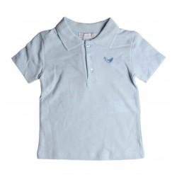 Polo basique uni - enfant mixte - bleu - coton