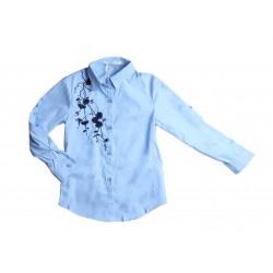 Chemisier manches longues broderie fleurs - bleu - Fille
