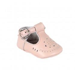 Babies en cuir avec une fermeture à boucle - rose - bébé fille