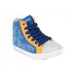 Baskets strasses - bleu marine orange - Enfant mixte