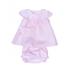 Robe bloomer et sac coton - rose - bébé fille
