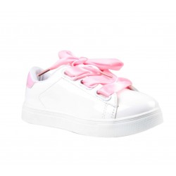Baskets lacet satin - blanc - fille