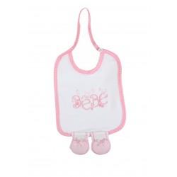 Bavoir à pied - bébé fille - rose