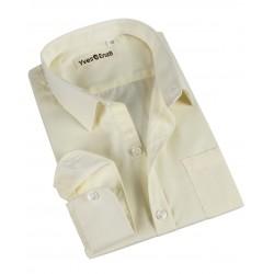 Chemise uni col français - garçon - beige
